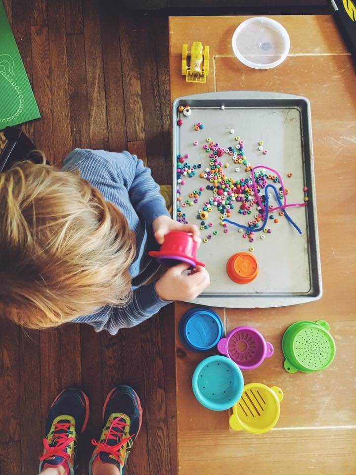 Feburayr 20.  Toddler tip: Use cheap cookie trays to contain things like beads, playdough, watercolors...  What things do you use to minimize mess and madness?!