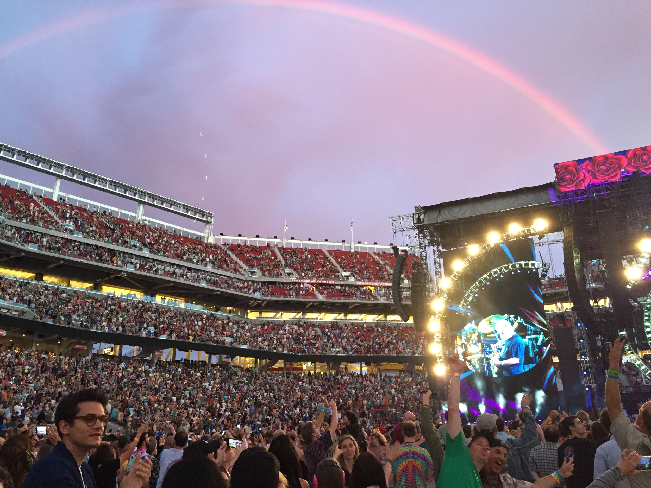 You probably heard about the rainbow that appeared during one of the shows at Levi's stadium. Also... I spy a smiling John Mayer!! My high school heart melts.