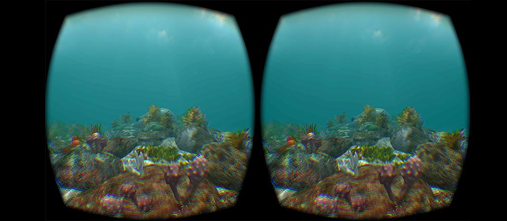 A view of a rock platform through the Oculus Rift.