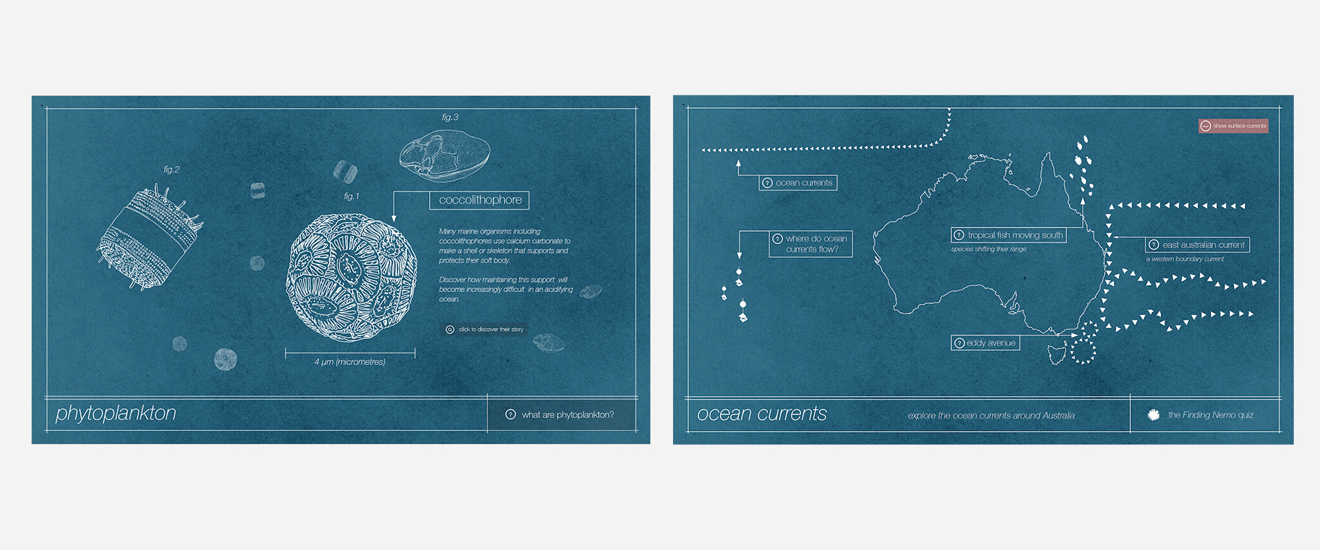 Above: The Coastal Erosion, AUV, Phytoplankton & Ocean Currents interactives.