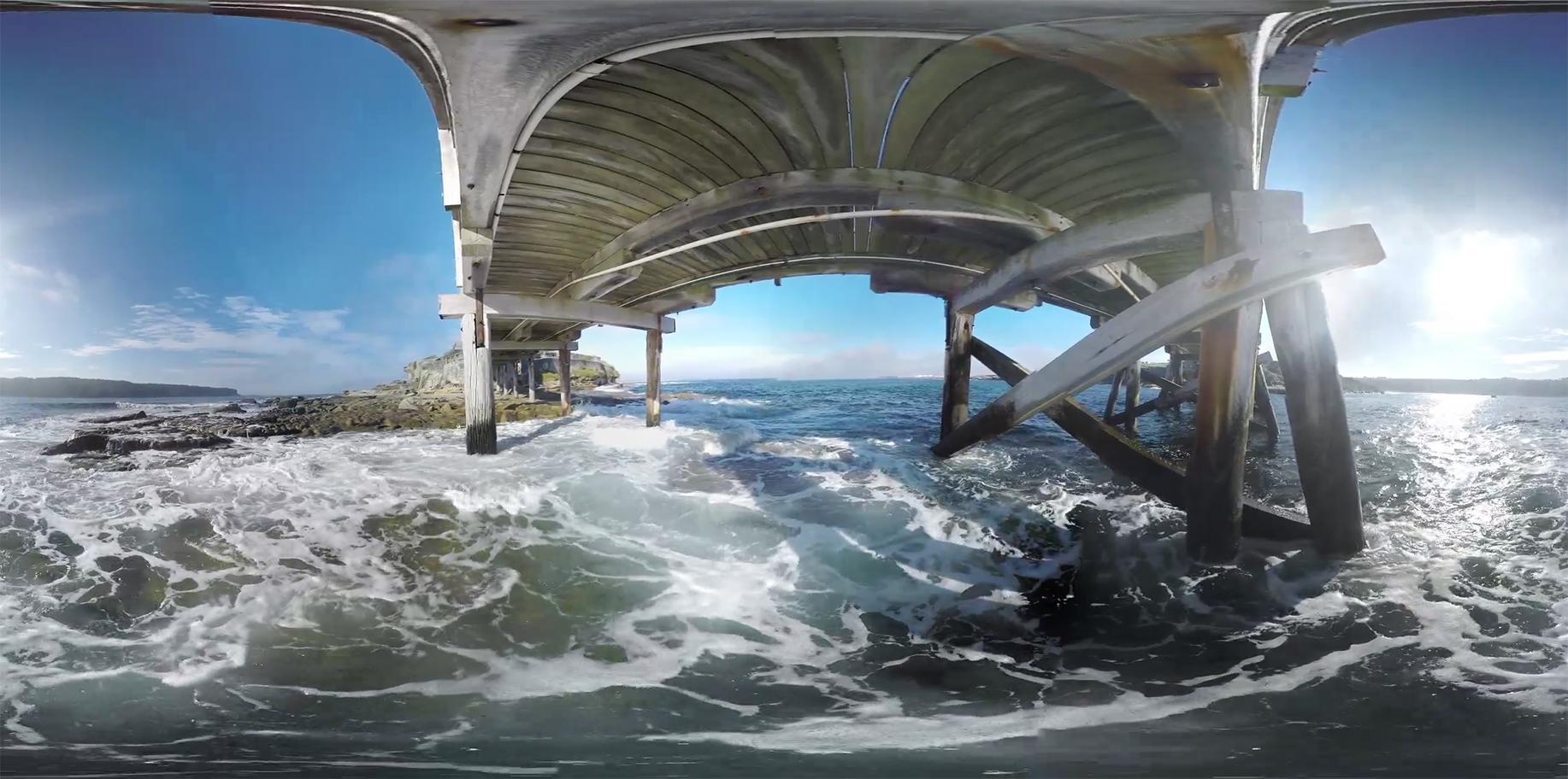 Here is what the stitched footage lookedlike (flipped 180 degrees) before being warped into a stereographic projection.