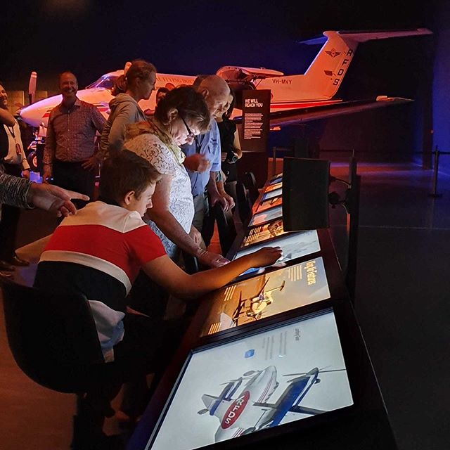 The brand new RFDS Visitor Experience has launched at Dubbo! We're proud to have been part of this project, creating videos, AR, projections and touchscreen interactives to tell the narrative of RFDS' history and ongoing healthcare services. 🛩👩⚕️👨⚕️🚑 @royalflyingdoc #rfds #hangarmuseum #dubbo #AR #digitalmedia #interactive #museum