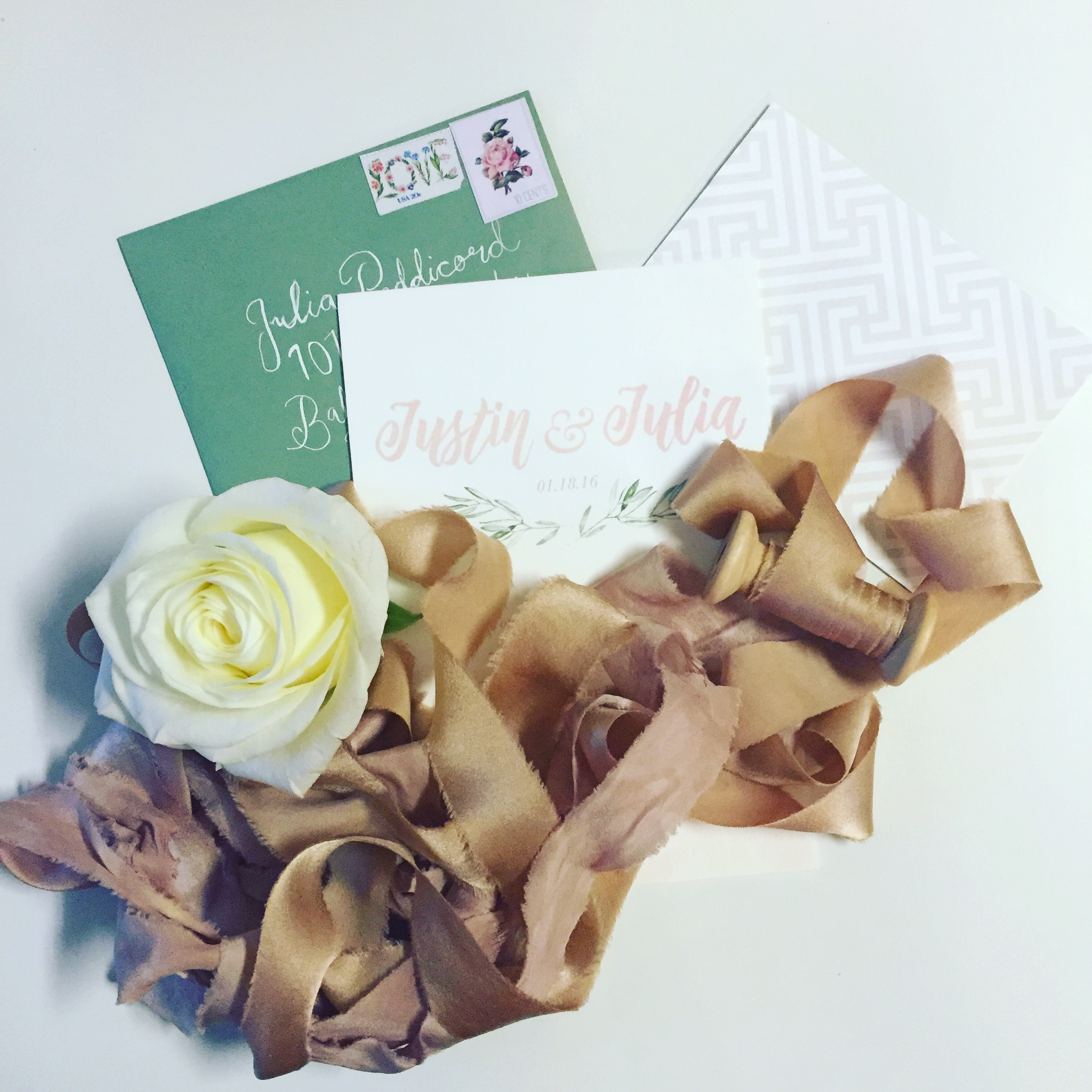 Invitation suite from our recent styled shoot by Ribbon and Ink and ribbon by Fleuropean!