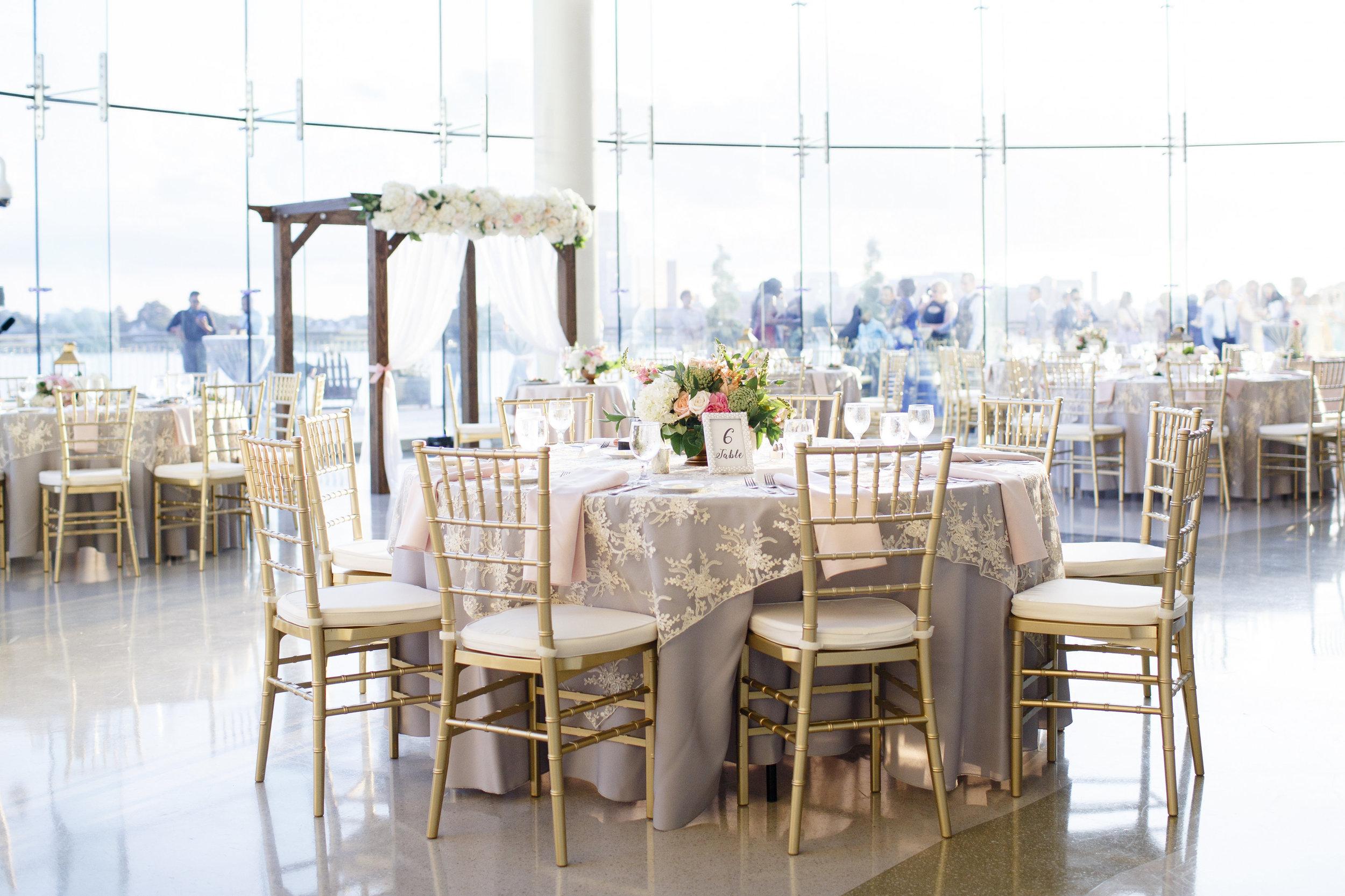 Courtney Inghram Events Wedding Florist at Half Moone Cruise Terminal Blush Wedding in Norfolk, Virginia Hampton Roads Wedding