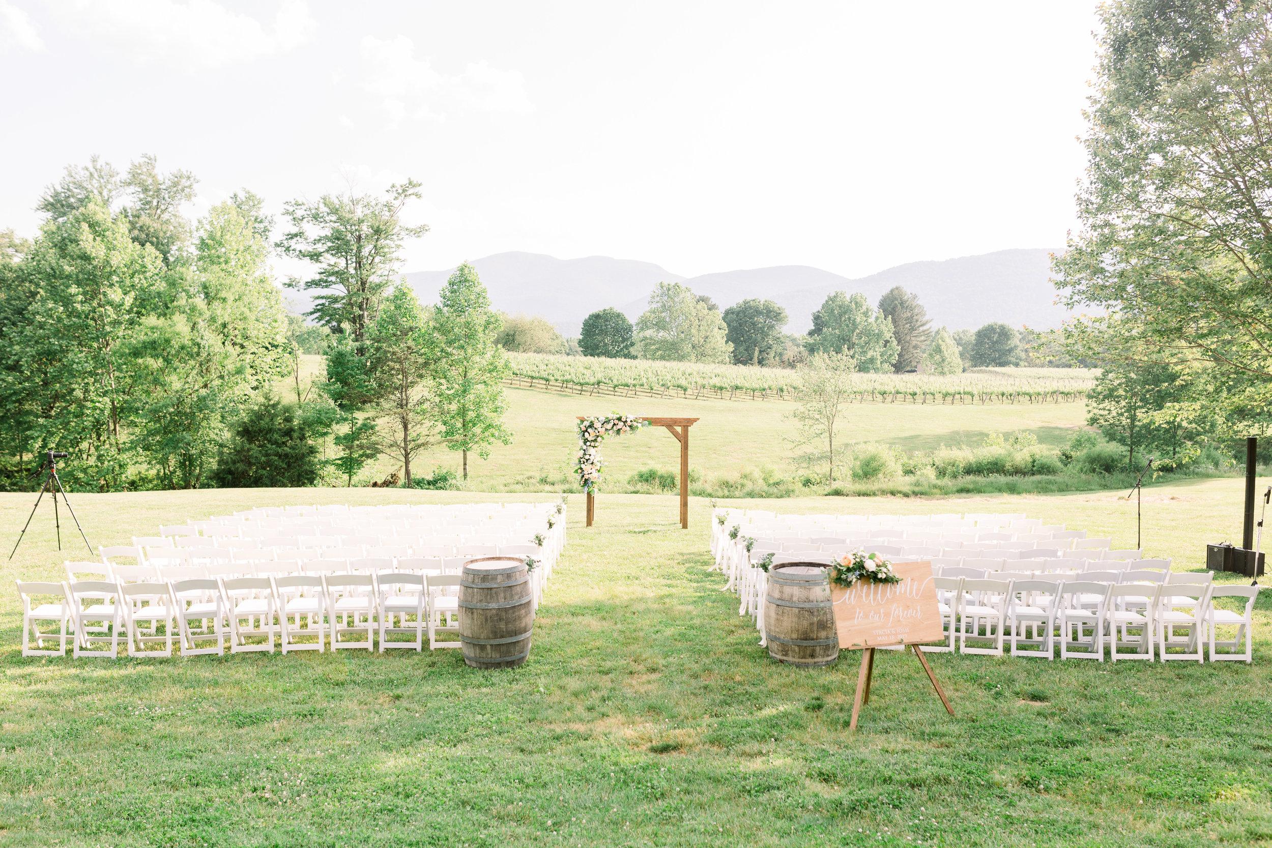 Courtney Inghram Charlottesville Virginia Wedding Florist Veritas Vineyard and Winery Peach and Blue Spring Wedding