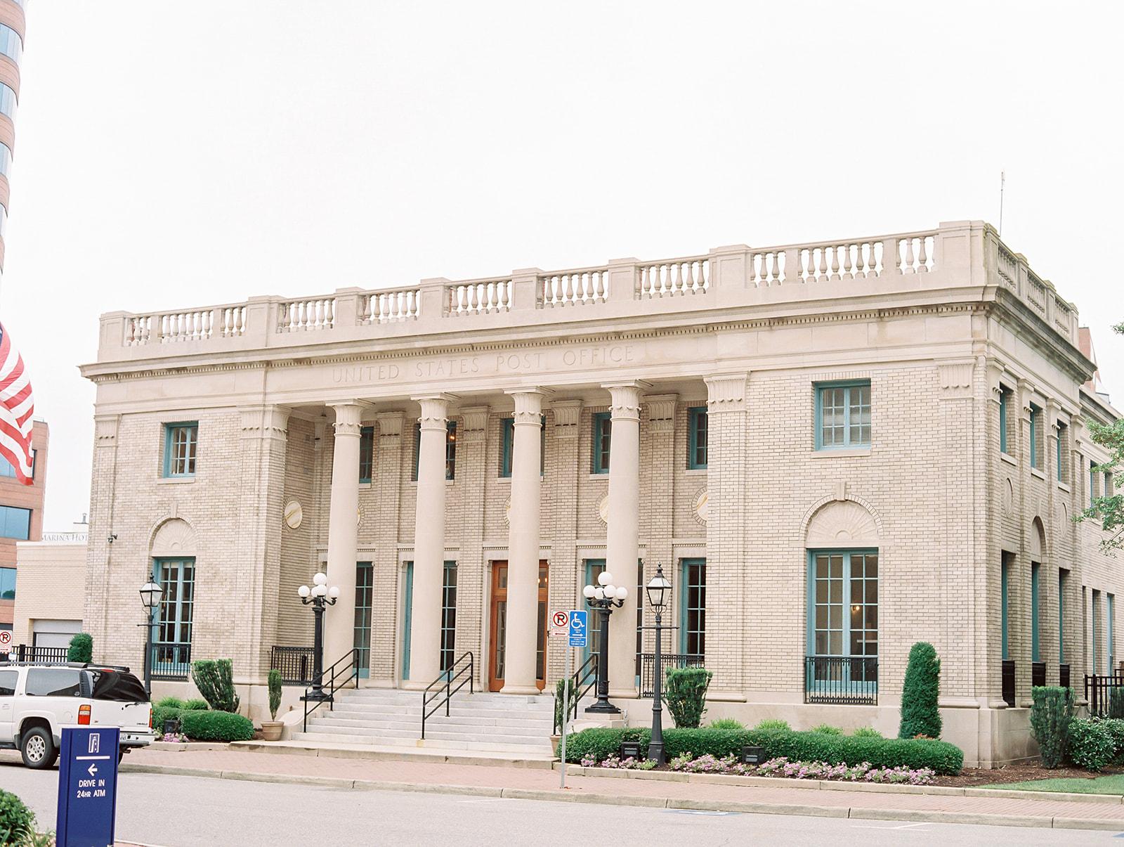 Courtney Inghram Historic Post Office Hampton Virginia Fine Art Wedding Florist