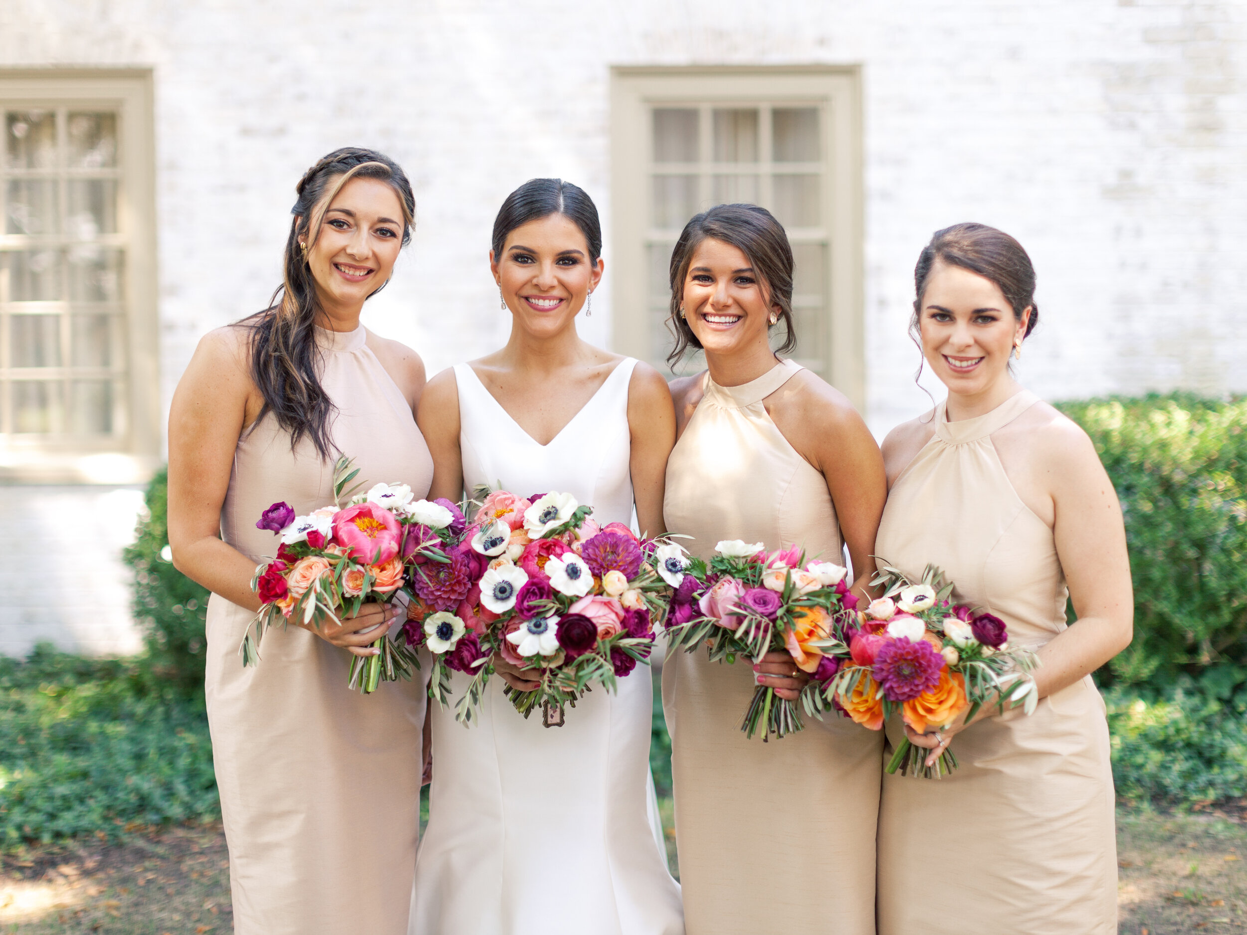 Courtney Inghram Williamsburg Inn and Lodge Virginia Wedding Florist Coral, Magenta and Peach Summer Wedding