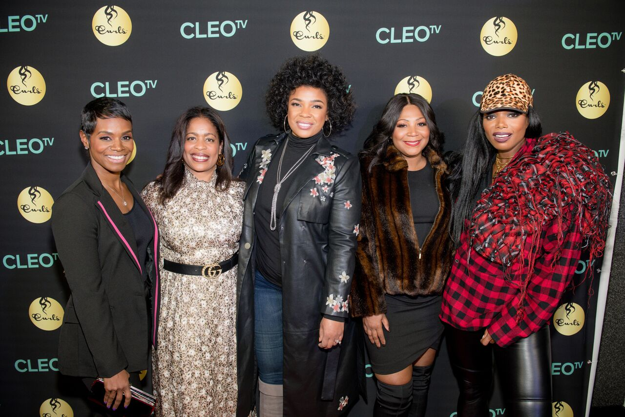 Sister Circle Co-Host Rashan Ali, CLEO TV's network chief Michelle Rice, Sister Circle Co-Hosts Syleena Johnson and Trina Braxton, and CLEO TV Host/Personality Tai Beauchamp at the CLEO TV preview celebration in Atlanta on November 29.