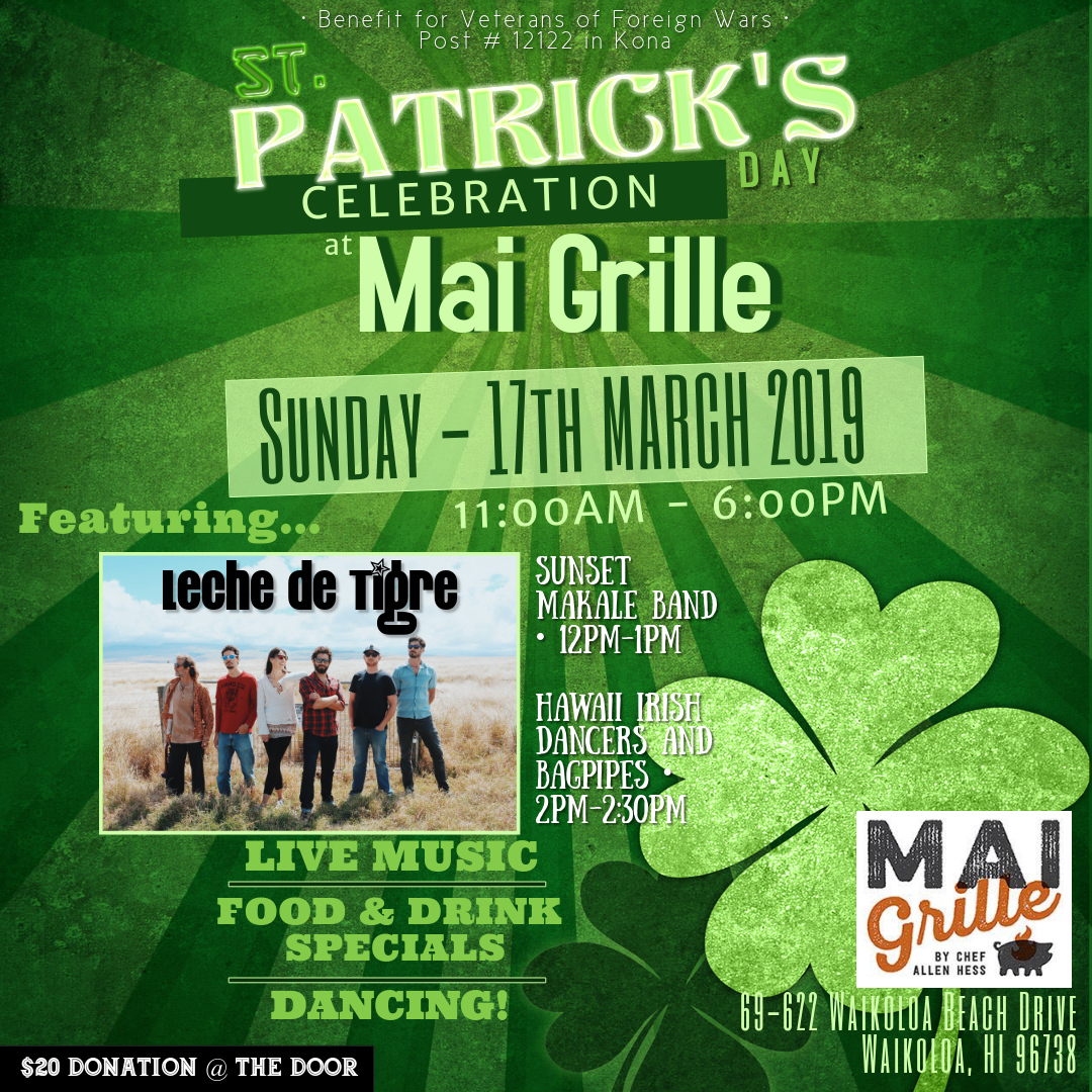 Sunday St. Pattys day at Mai Grille. Full day of fun and celebration benefiting VFW.