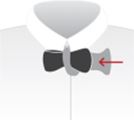 STEP 5: With your left thumb or forefinger push the wide, middle part of the tie and your finger up through the opening from left to right, taking care not to let the end of the tie pass all the way through the opening. Use your right hand to help pull the back loop through.