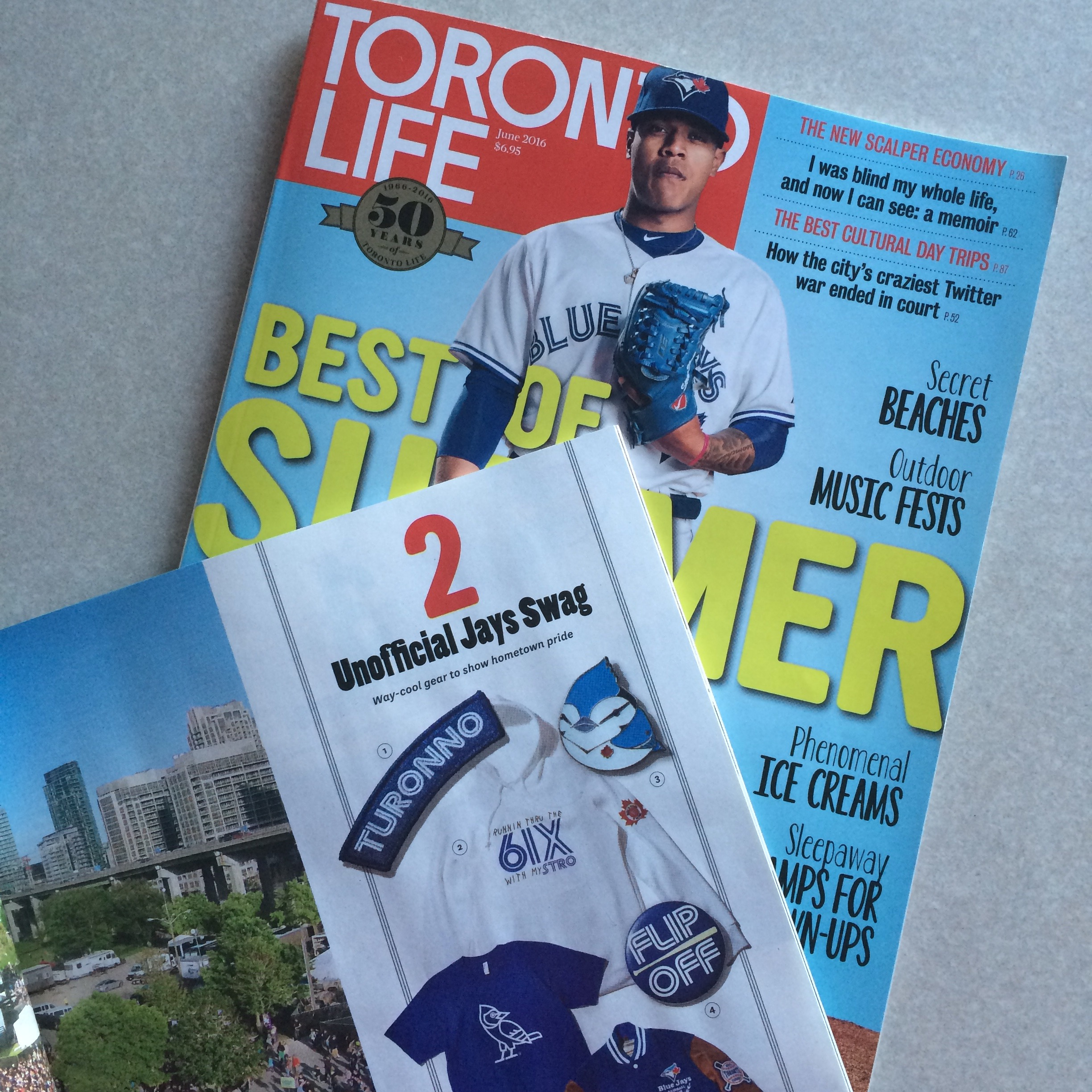 Our Runnin Thru The 6ix With My Stro design was featured in the June issue of Toronto Life Magazine! Unofficial Jays gear that fans love. - FULL ARTICLE