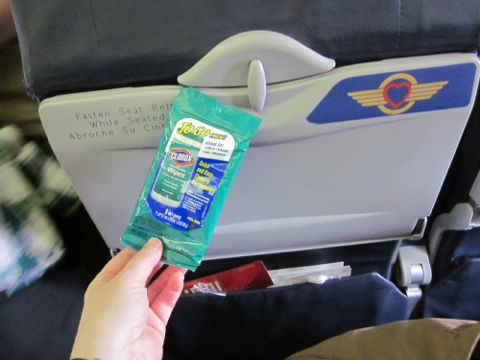 free sanitizing wipes on airplane