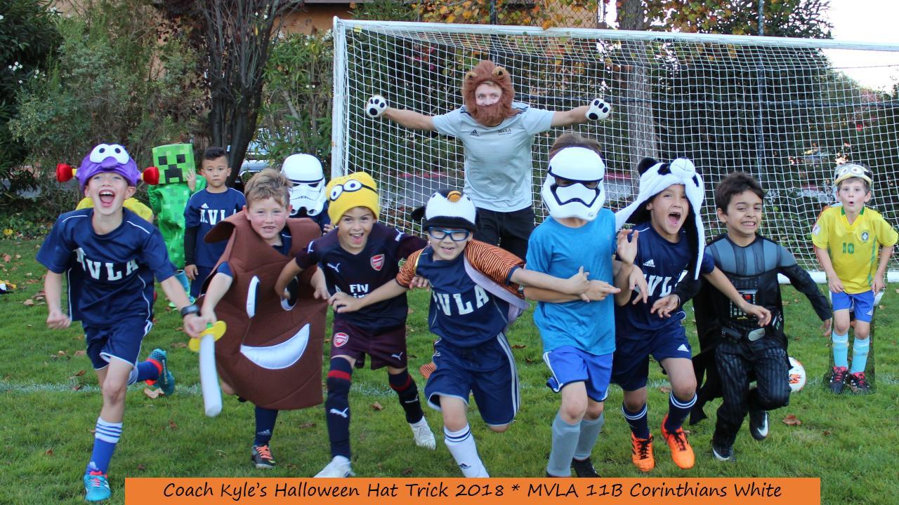 WINNER Most Creative U9 & Younger: 11B Corinthians White - Coach Kyle's Halloween Hat Trick