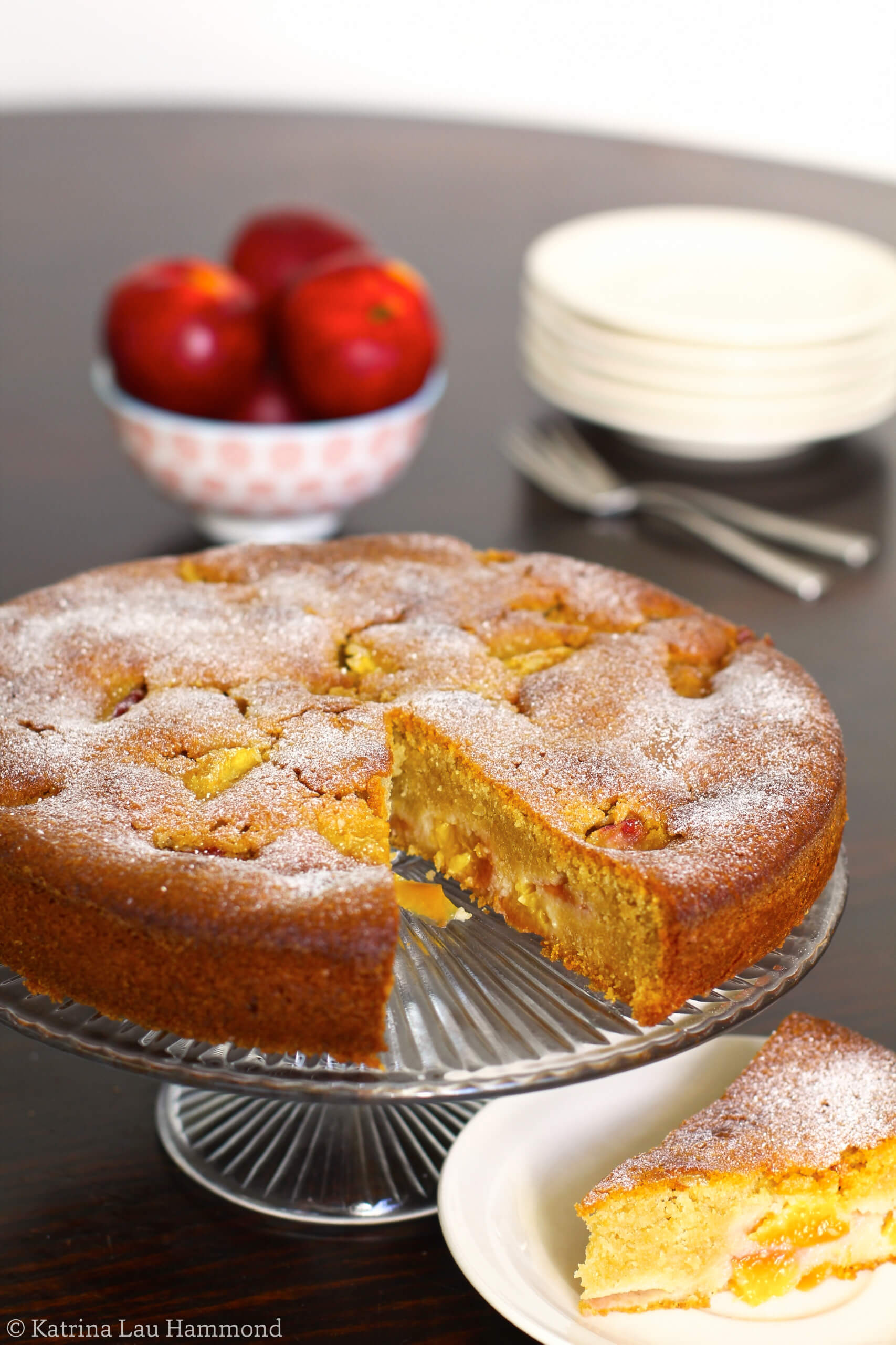 Nectarine, spelt, almond and honey cake