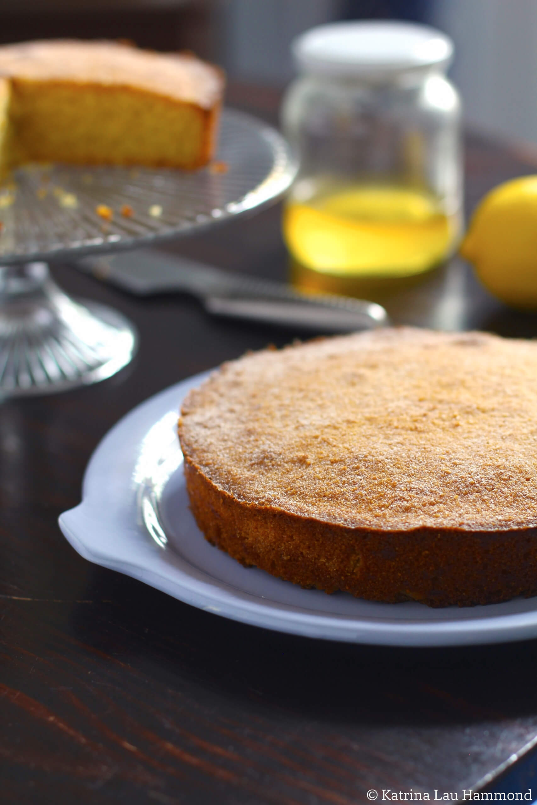 Lemon, polenta, honey cake — baked