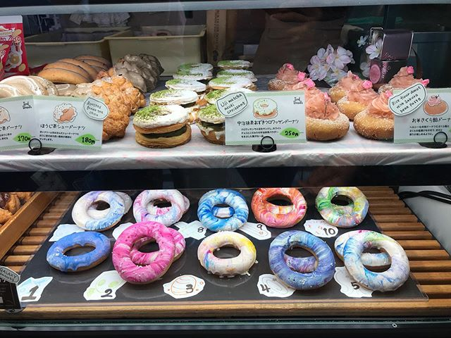 """I have to admit, impressive looking doughnuts @jack_in_the_donut @jackinthedonuts, especially the glazing job on the """"Galaxy Donuts"""" #galaxydonuts #jackinthedonuts #donuts #doughnuts #doughnutshop #donutshop #tokyo #japan #japantravel #japaneats #japanesefood #foodie #foodlover #travellingwithkids"""