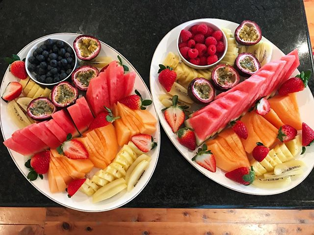 Some fruit platters for some visitors from Hong Kong, old family friends. After having lived in five different countries, I can honestly say that we are very fortunate here with our quality, availability and variety of fresh produce. Note to self: don't make them too early or the kids will eat them all up. #fruit #freshfruit #fruitplatter #dessert #australianfruit #eattherainbow #wholefood #guthealth #microbiome #parenting #mumlife #lifeaftercancer #cancermama #breastcancersurvivor #alwaysbeenafruitlover #fruitlover #aussiefarmers #supportaussiefarmers
