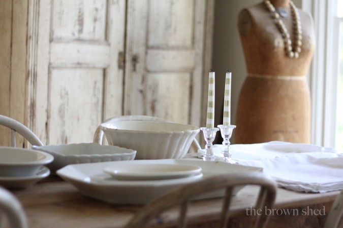 ironstone and linens | thebrownshed.com