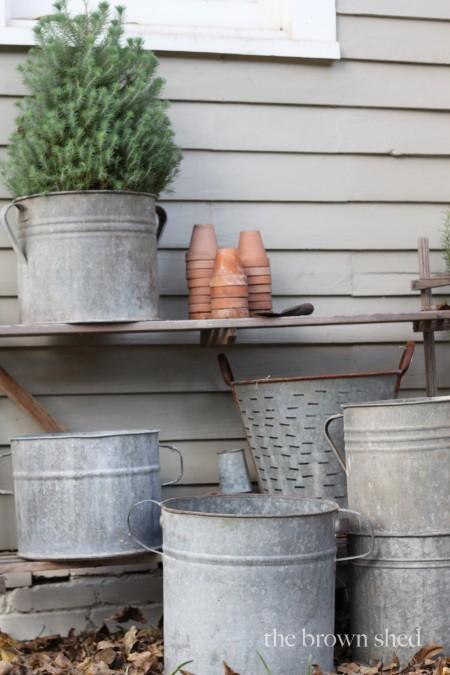 vintage zinc buckets | thebrownshed.com
