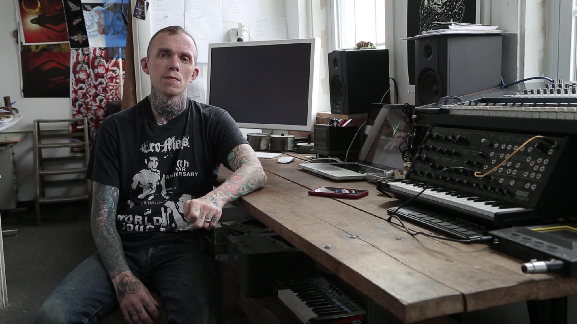 Jake Bannon, of Converge, at Deathwish, Inc. Headquarters, in Massachusetts.