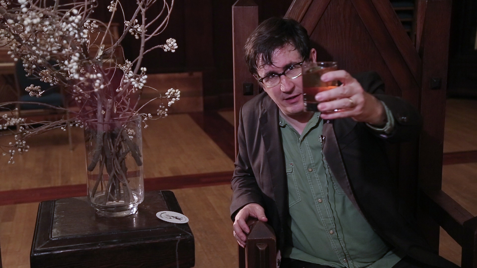 John Darnielle, of The Mountain Goats, toasting Windy of Aquarius, with a lovingly crafted Manhattan.