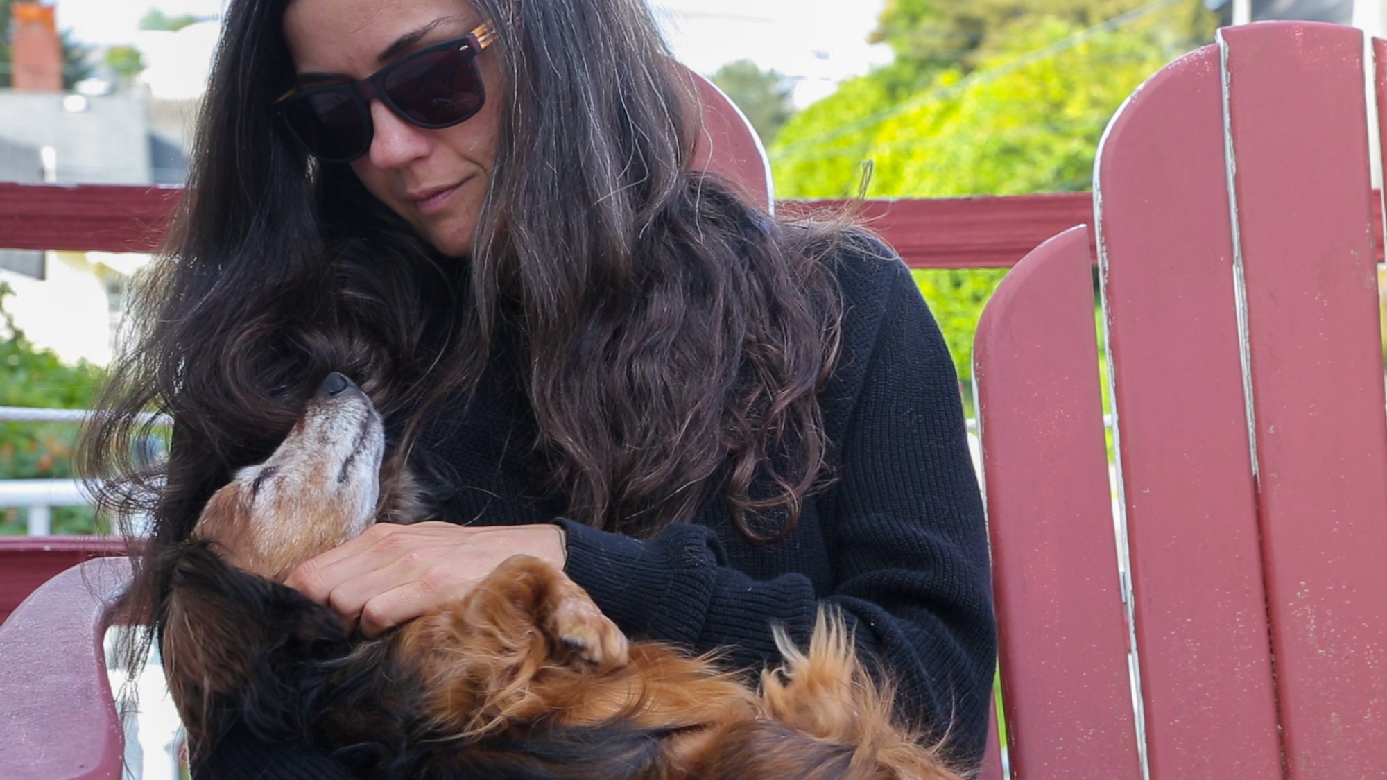 Liz Harris (Grouper) and her pup Rosie, in lovely NW Oregon.