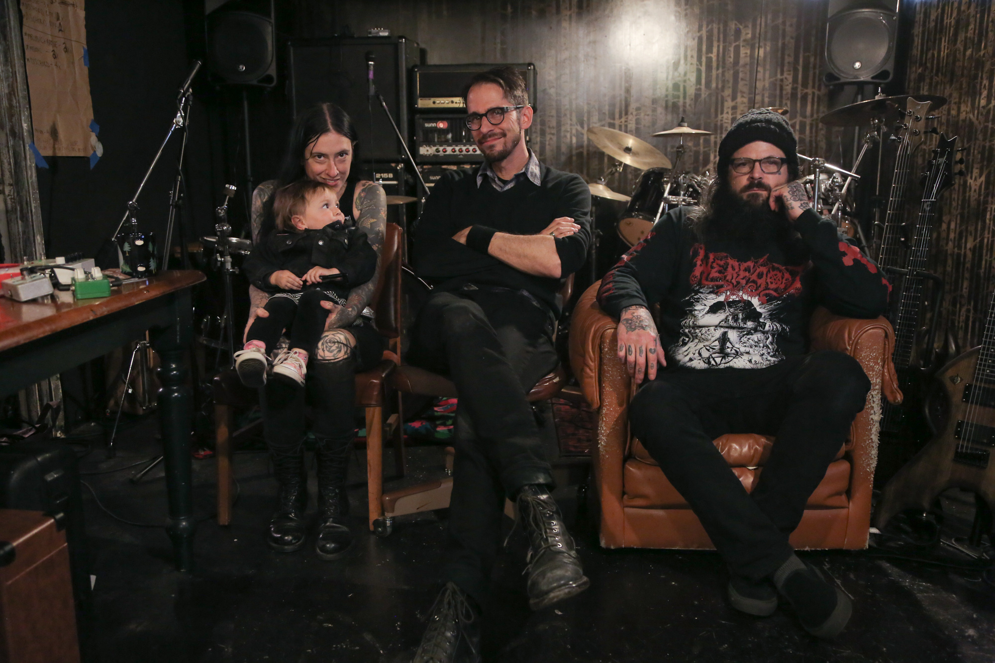 Post-interview with Stevie Floyd (Taurus), Jef Whitehead (Leviathan), and Grail (the little one). Oregon.