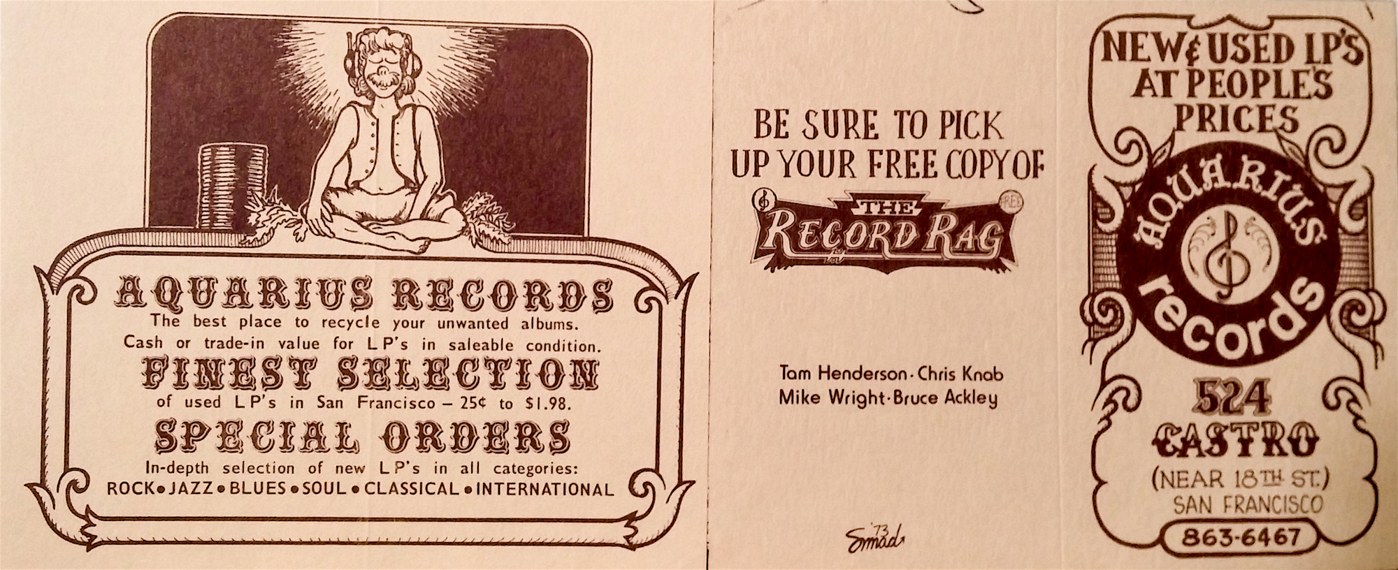 Little promo card for the store, early 70's.