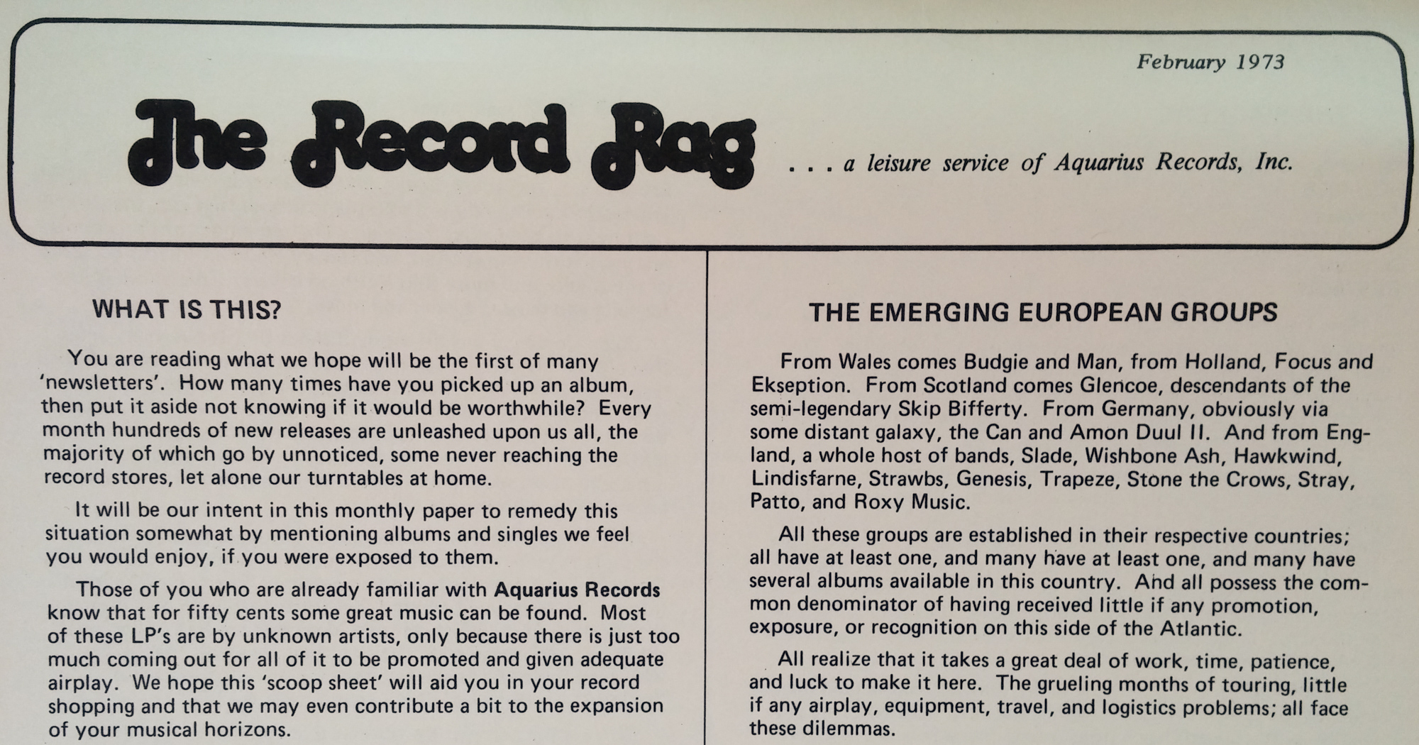 aQ's classic zine, promoting new and underground music... much like their email lists of the 90's - 2000's!