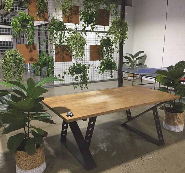 The Reception desk we made recently for an awesome warehouse/office space in Miami. Fitted with custom designed industrial steel legs. #woodencollective #reclaimedtimber #furniture #customdesign #industrial #warehousespace #goldcoast