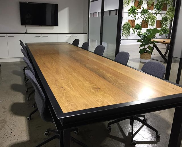The Boss Boardroom Table, all set up for Business. Just as big as I remember. #woodencollective #reclaimedtimber #industrialdesign #boardroom #table #warehouse #officespace #goldcoast