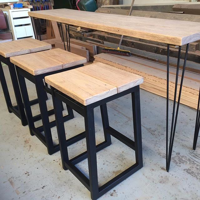 FLOOR SPACE SALE!!! 4 piece bar setting. Wire Brushed Reclaimed Messmate on Black. $1200 DM if interested.