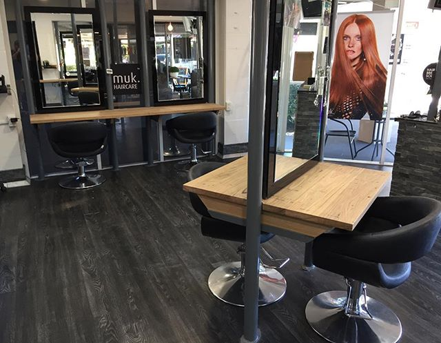 Another shot of the Salón bench tops we recently finished. #woodencollective #reclaimedtimber #hairsalon #goldcoast