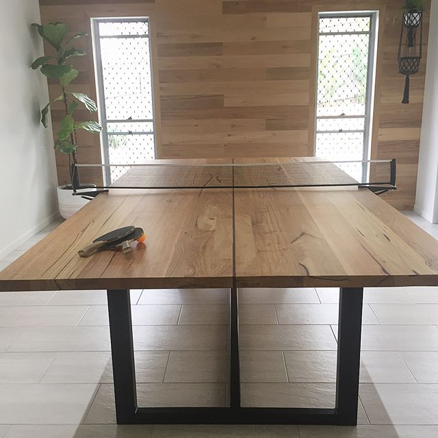 The last piece to come out of the old shop. Game on! 🏓 Messmate with Wenge center line and blackbutt feature wall. Legs by our friends @designerglassandoutdoors #woodencollective #reclaimedtimber #tabletennis #table