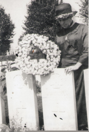 My great-great-great grandmother, Annie Roadknight at her son, Walter's grave in France