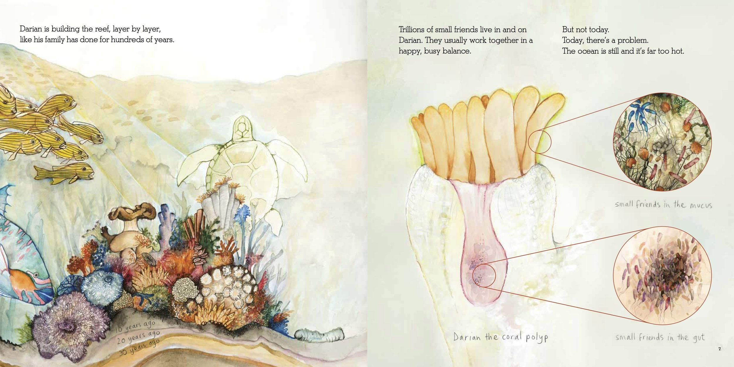 Spread from Zobi and the Zoox: A Story of Coral Bleaching. Written by Ailsa Wild, Illustrated by Aviva Reed. Created by Briony Barr & Gregory Crocetti. CSIRO Publishing & Scale Free Network, 2018.