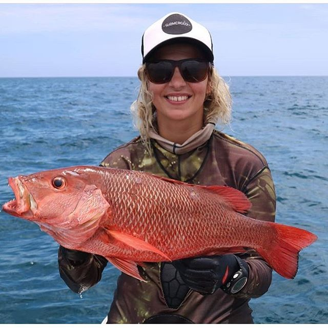 @julia_sercombe with a tasty #mangrovejack / www.submergedspearfishing.com @aimritespearfishing
