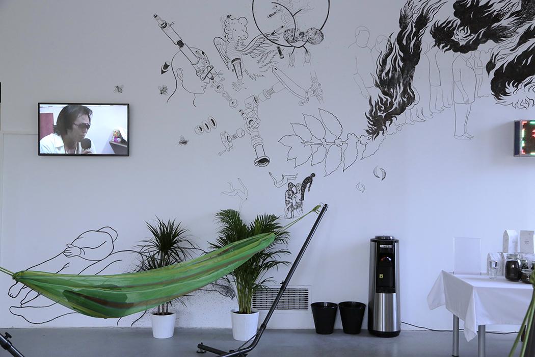 "JRAI DEW hammock cafe at ""PUBLI SPIRIT"", Center for Contemporary Art Ujazdowski Castle, Warsaw, Poland"
