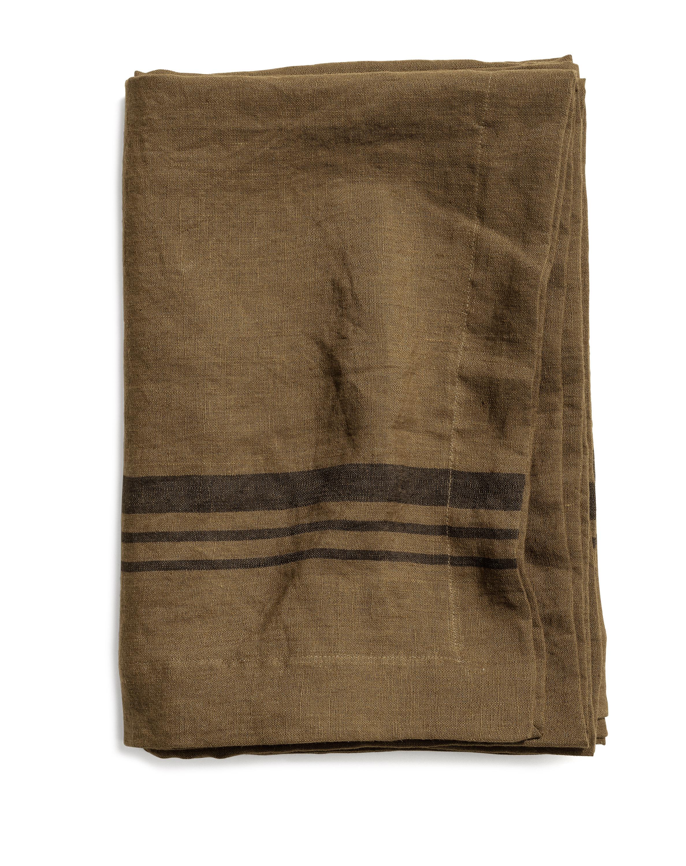 Limerick table cloth stripe dk olive, 160*160