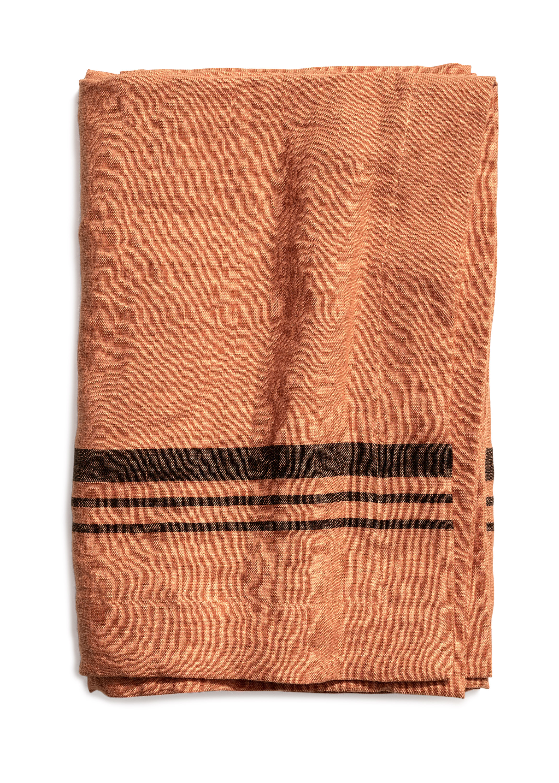 Limerick table cloth stripe dry terracotta 160x160