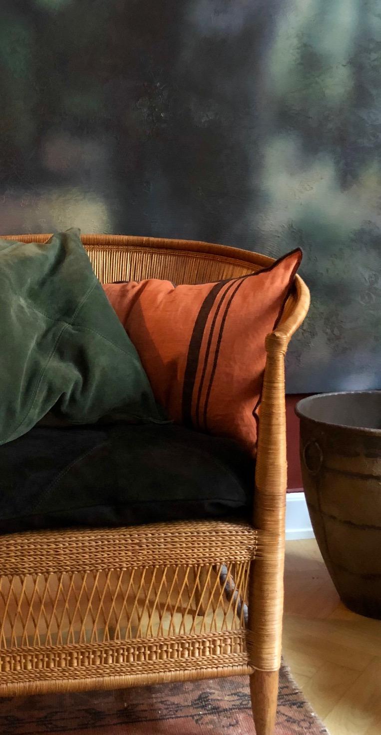 Loke cushion stripe Terra-cotta and Rafety cushion suede Foggy green