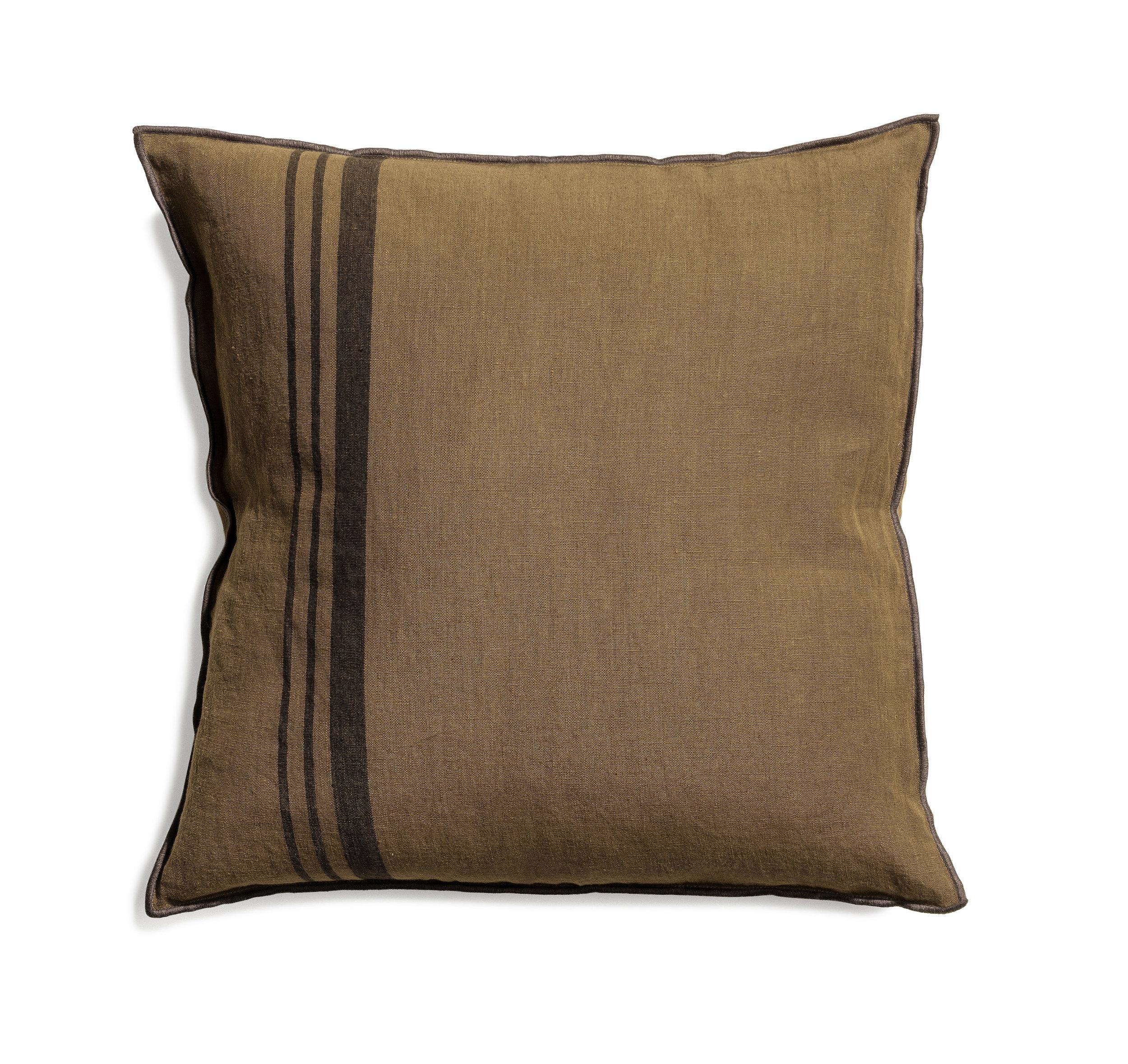 Loft cushion dark olive stripe 50x50