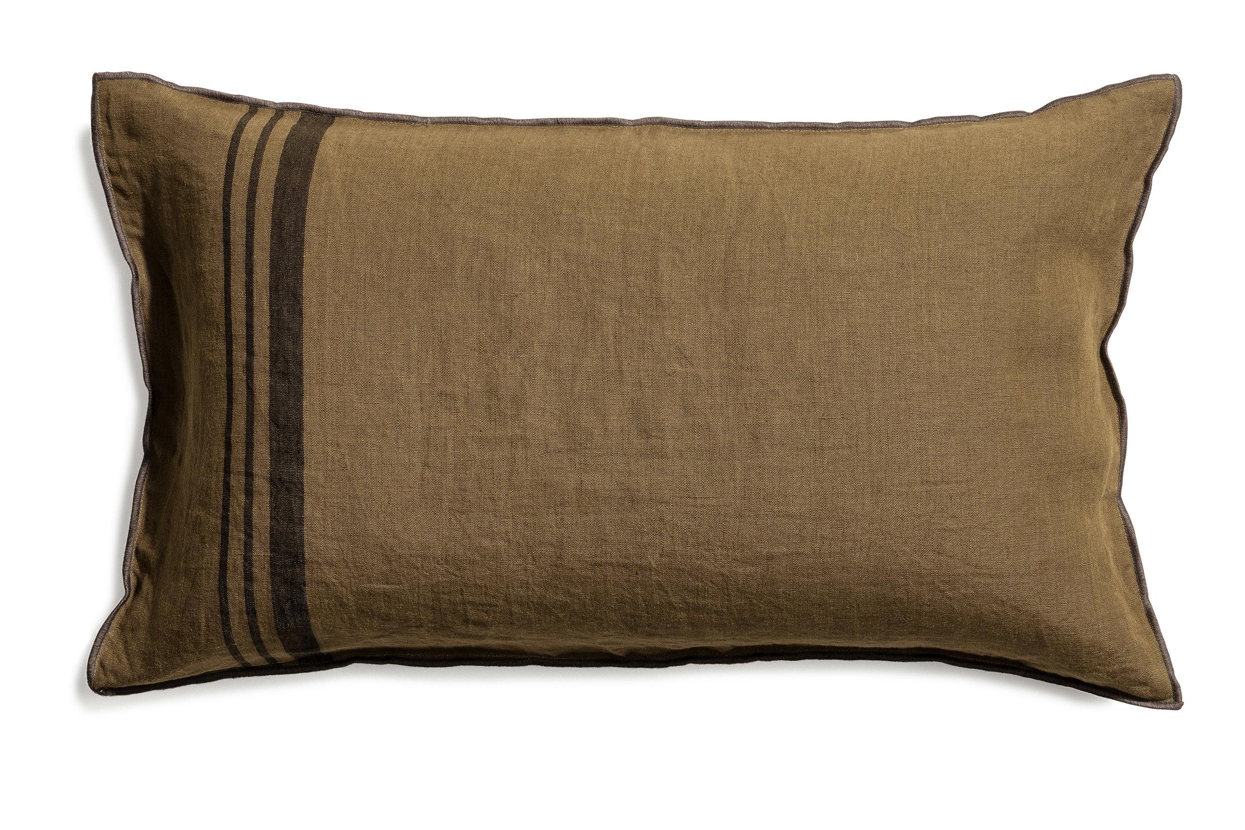Loke cushion stripe ark olive 40x70