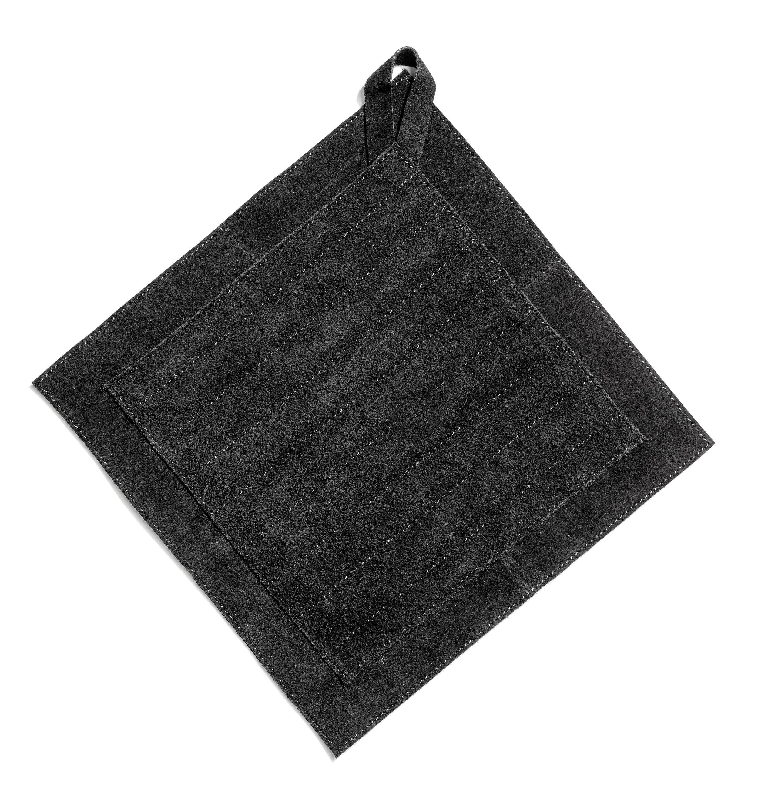 Trinity pot holder black suede 28x28