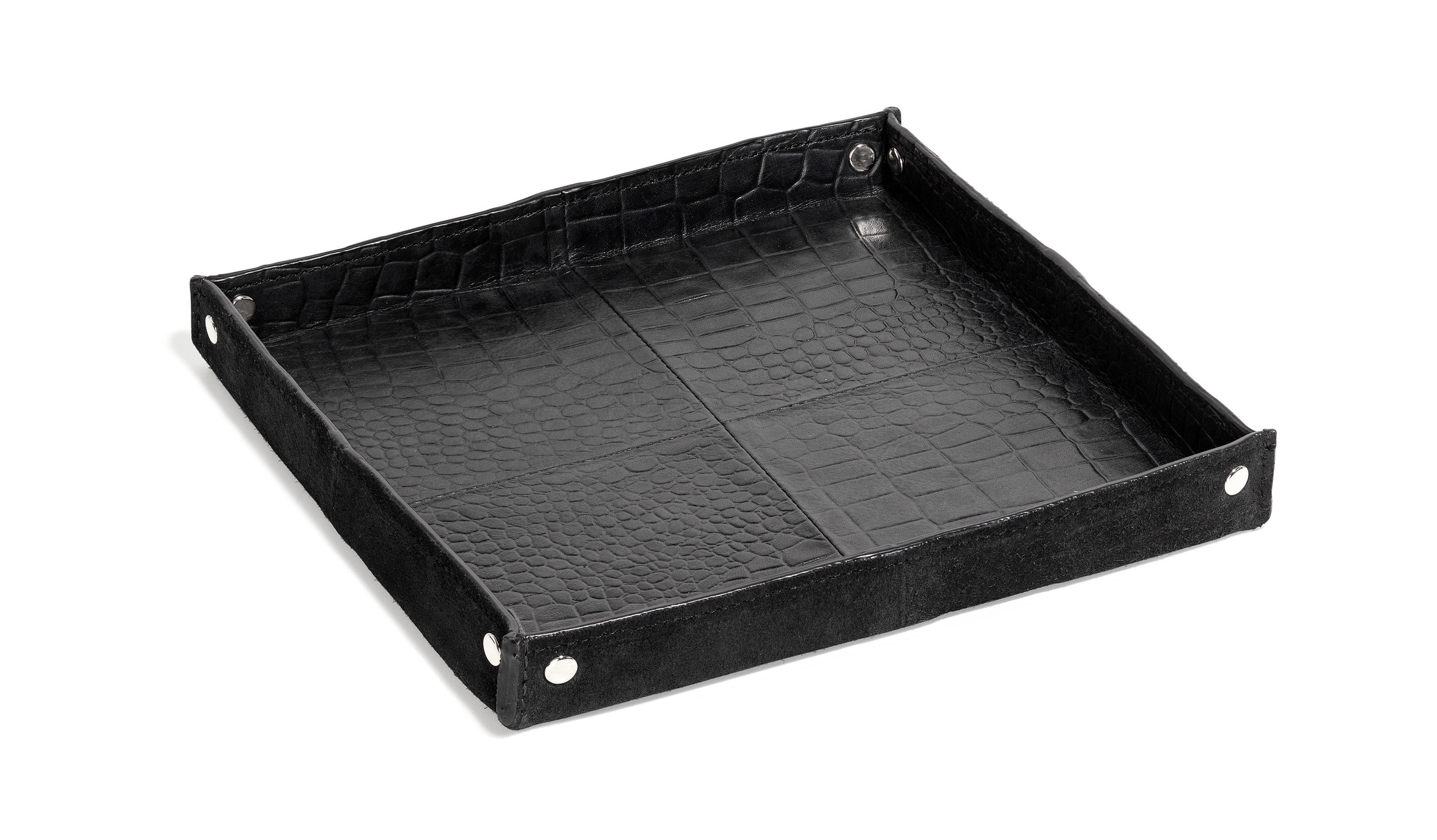 Harris tray croco black leather 24x24