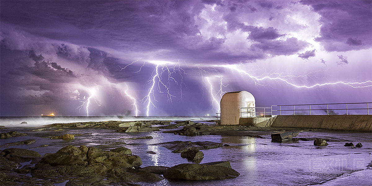 Lightning illuminates the Merewether skies