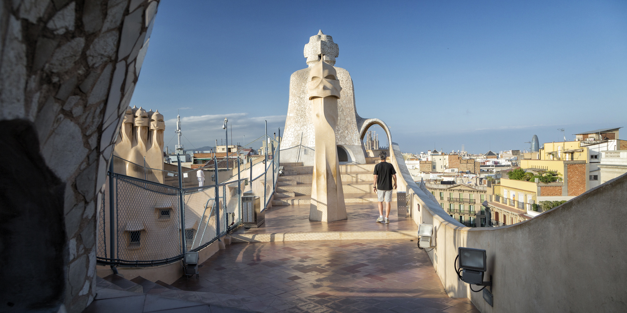 Late afternoon on the roof of La Pedrera