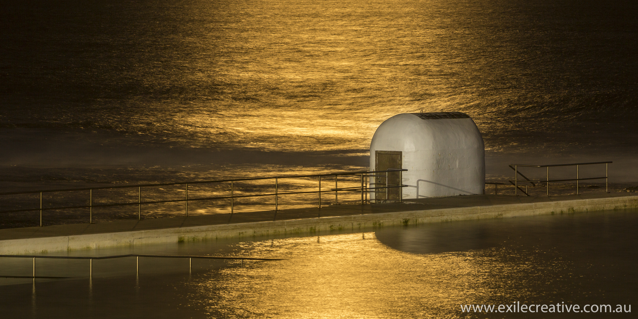 Merewether pump house bathed in the light of the full moon