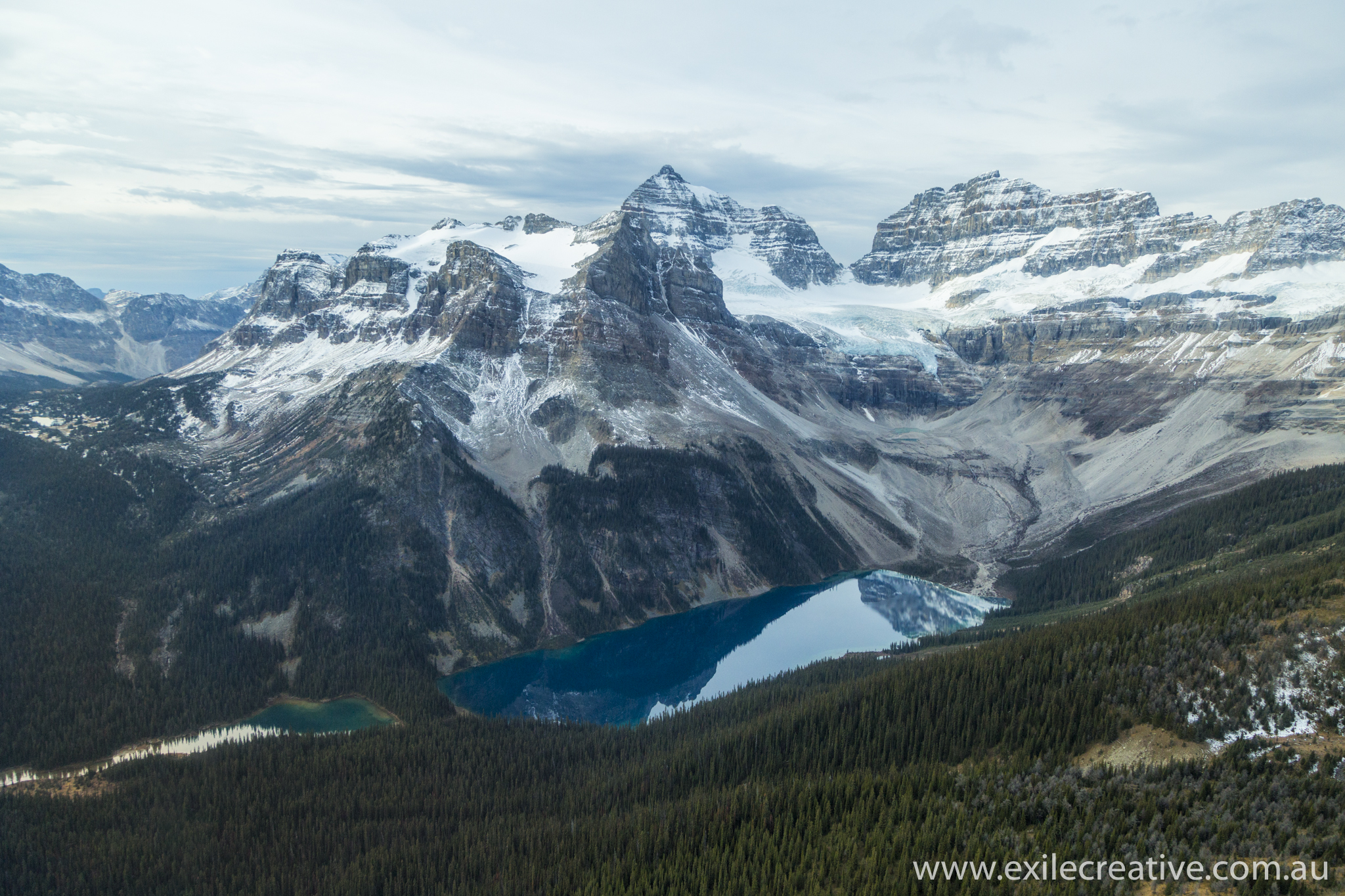 Mount Assiniboine from the East with Lake Gloria (closest to the peak) and Marvel Lake