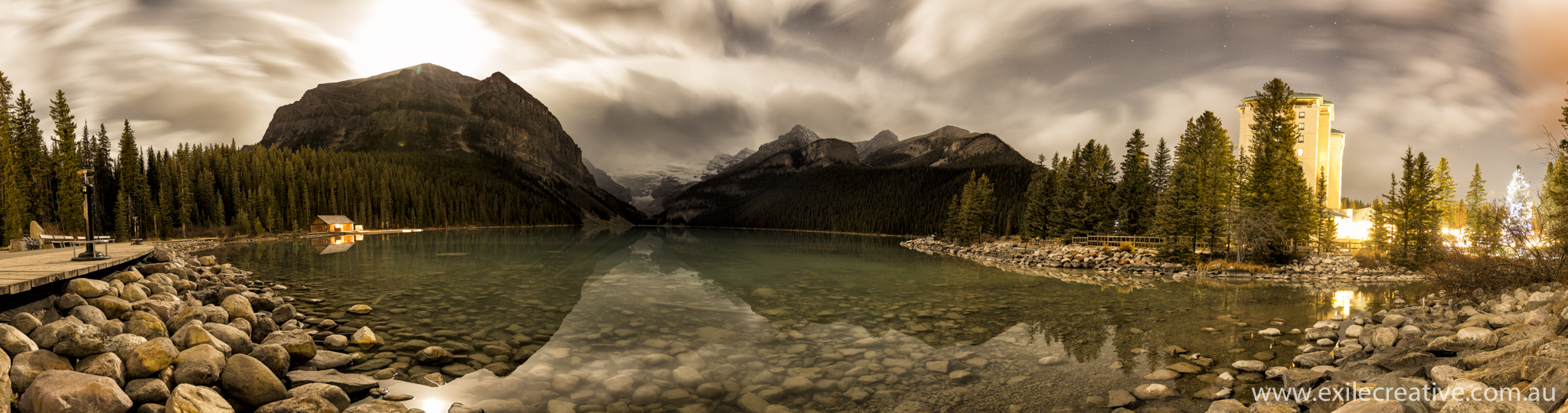 Lake Louise by moonlight